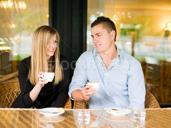 Attractive young couple enjoying beverage. Stock photo © lithian