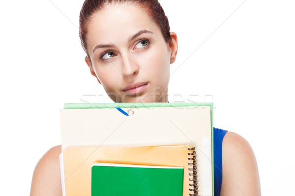 Cute young brunette student. Stock photo © lithian