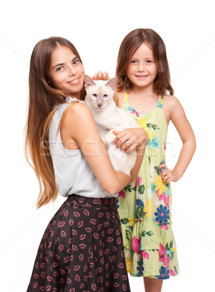 Young woman and child with cat. Stock photo © lithian