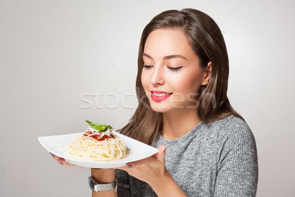 молодые брюнетка итальянской кухни великолепный женщину продовольствие Сток-фото © lithian