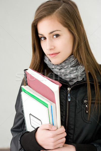 Attractive cool fashionable student girl. Stock photo © lithian