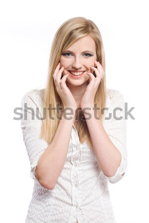 Exuberant young blond woman. Stock photo © lithian