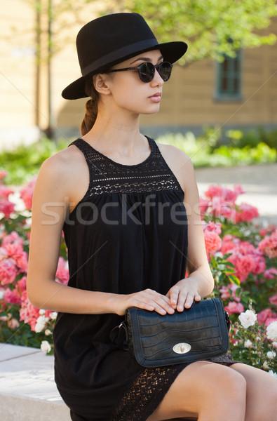 Barna hajú nyár divat szépség kint portré Stock fotó © lithian