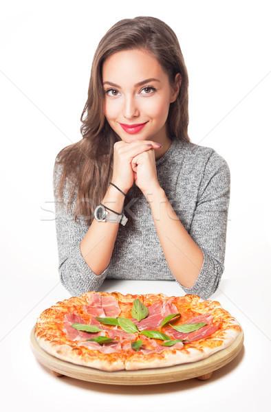 Jóvenes morena comida italiana mujer pizza Foto stock © lithian