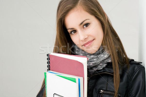 Zdjęcia stock: Atrakcyjny · świeże · młodych · brunetka · student · dziewczyna