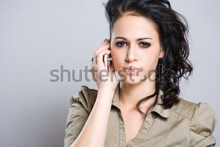Rossz hírek portré fiatal barna hajú mobiltelefon aggódó Stock fotó © lithian