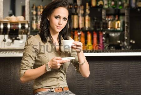 Donna Cup caldo caffè magnifico giovani Foto d'archivio © lithian