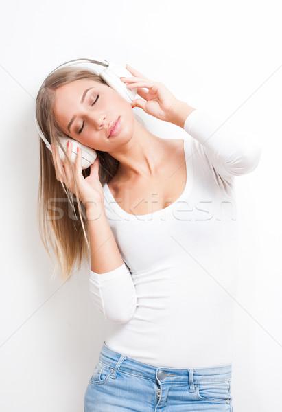 Liebe Musik Porträt herrlich jungen blond Stock foto © lithian