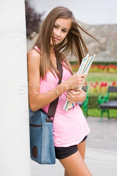 Genç öğrenci kız park portre Stok fotoğraf © lithian