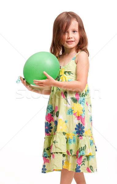 Schönen energetische junge Mädchen Porträt Brünette grünen Stock foto © lithian