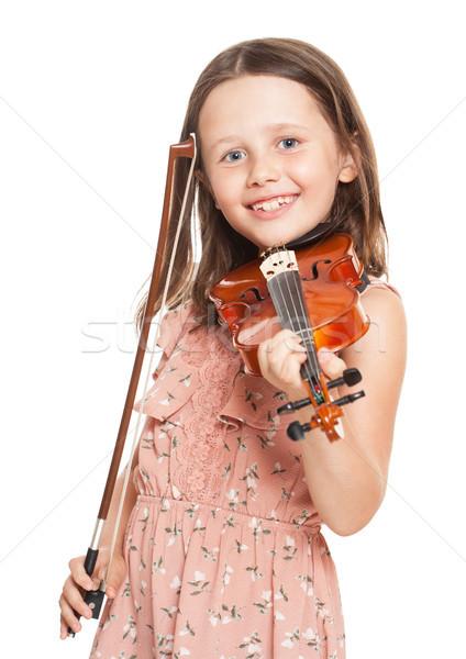 小さな ブルネット 少女 演奏 バイオリン 肖像 ストックフォト © lithian