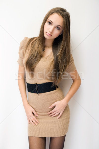 Prachtig modieus jonge brunette halve lengte portret Stockfoto © lithian