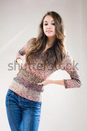 Hosszú hajú barna hajú szépség portré piros felső Stock fotó © lithian