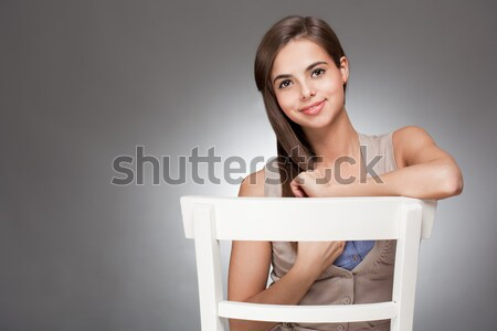Beautiful expressive brunette. Stock photo © lithian