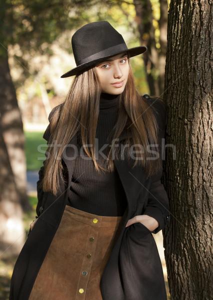 Stock fotó: Barna · hajú · szépség · ősz · ruházat · kint · portré
