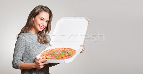 Jovem morena comida italiana mulher comida Foto stock © lithian