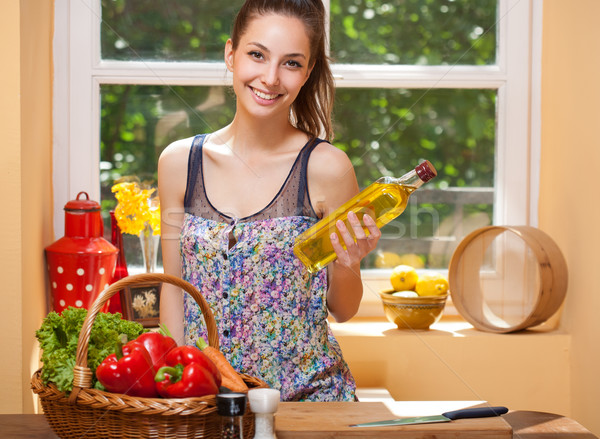 Fit brunette beauty and healthy food. Stock photo © lithian