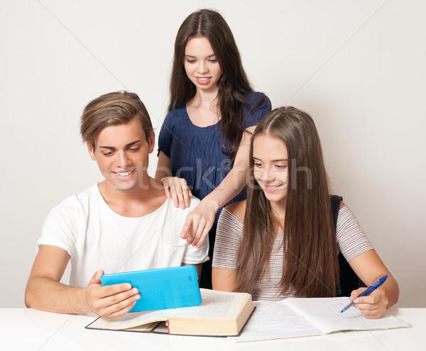 Happy high school students. Stock photo © lithian