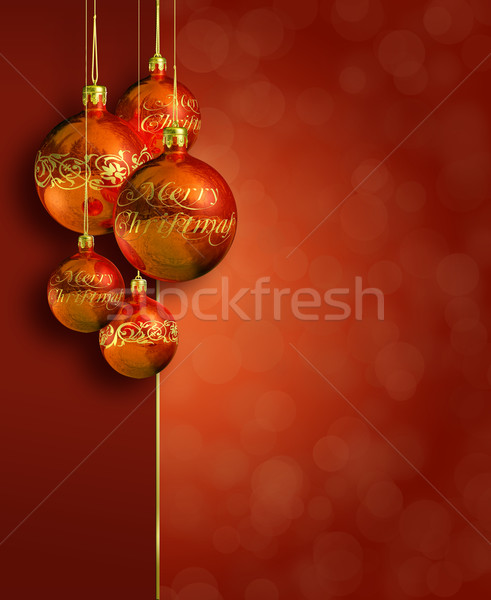 Modern styled warm red christmas decor. Stock photo © lithian