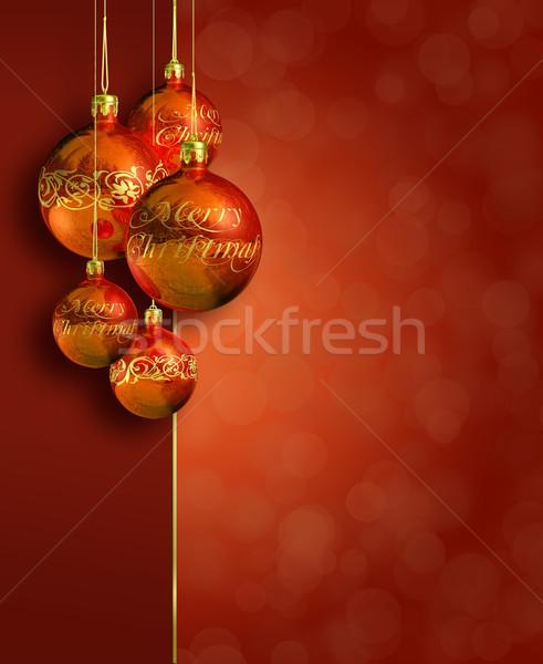 Modern meleg piros karácsony dekoráció üdvözlőlap Stock fotó © lithian