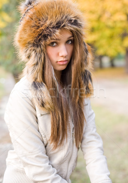 Cuteness in fur hat. Stock photo © lithian
