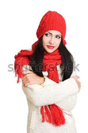Tél divat cuki portré káprázatos boldog Stock fotó © lithian