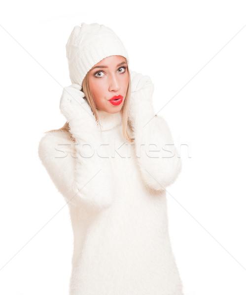 Snow white winter fashion. Stock photo © lithian