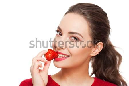 Vitamina tratamento jovem morena beleza colorido Foto stock © lithian