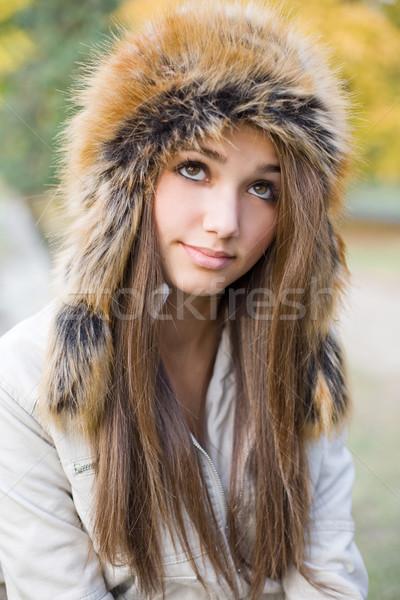 Stockfoto: Bont · hoed · cute · mooie · jonge · brunette