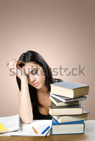 Cansado olhando jovem estudante mulher menina Foto stock © lithian