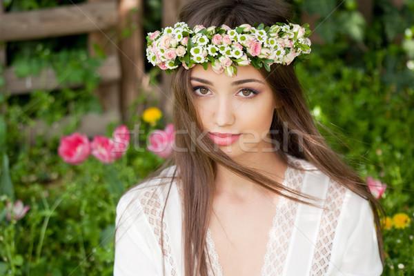 Elképesztő tavasz szépség kint portré természetes Stock fotó © lithian