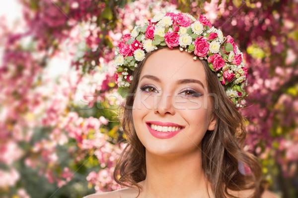 Zdumiewający naturalnych wiosną piękna odkryty portret Zdjęcia stock © lithian