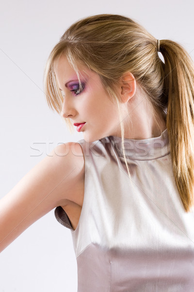красивой молодые ретро-стиле серебро платье Сток-фото © lithian