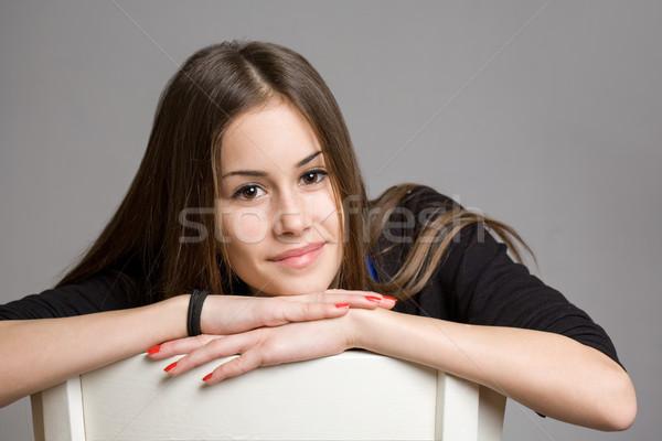 Cool tienermeisje portret mooie jonge brunette Stockfoto © lithian