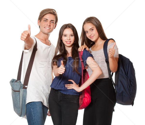 Mutlu lise Öğrenciler üç kız Stok fotoğraf © lithian