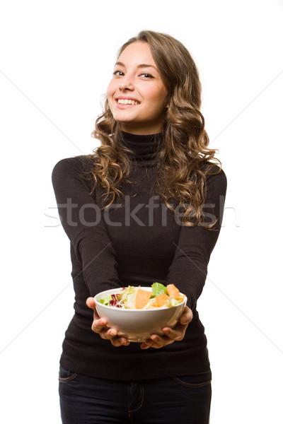 Egészséges étrend szépség káprázatos fiatal barna hajú nő Stock fotó © lithian