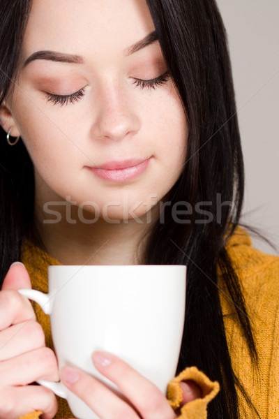 Кубок горячей напиток красивой зима брюнетка Сток-фото © lithian