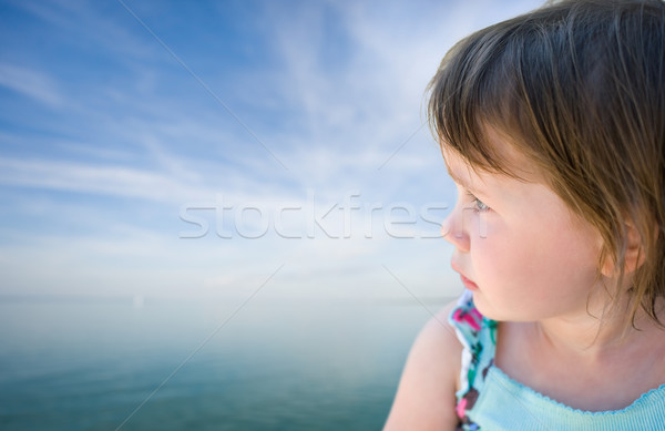 Toddler baby girl staring into the horizon. Stock photo © lithian