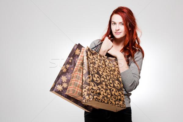 ファッショナブル 小さな 買い物客 肖像 幸せ ストックフォト © lithian
