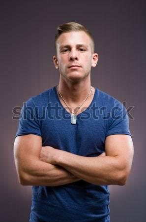 Macho portret geschikt knap jonge man Blauw Stockfoto © lithian