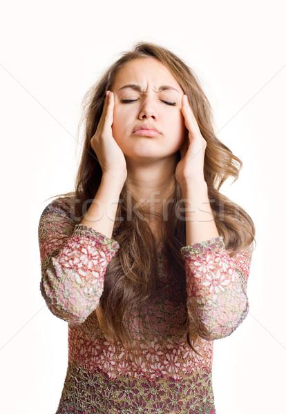 Bolesny piękna młodych brunetka dziewczyna straszny Zdjęcia stock © lithian