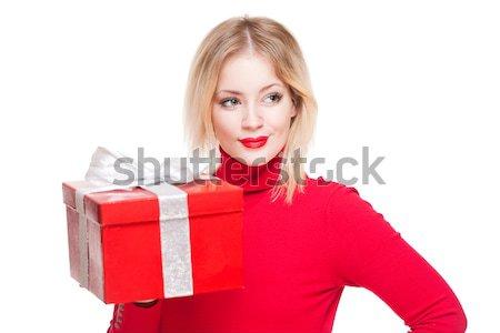 Piros ajándék doboz cuki portré gyönyörű fiatal Stock fotó © lithian