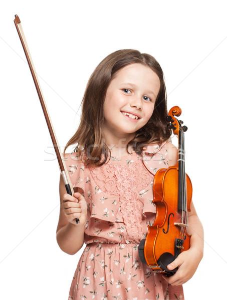 Fiatal barna hajú lány játszik hegedű portré Stock fotó © lithian