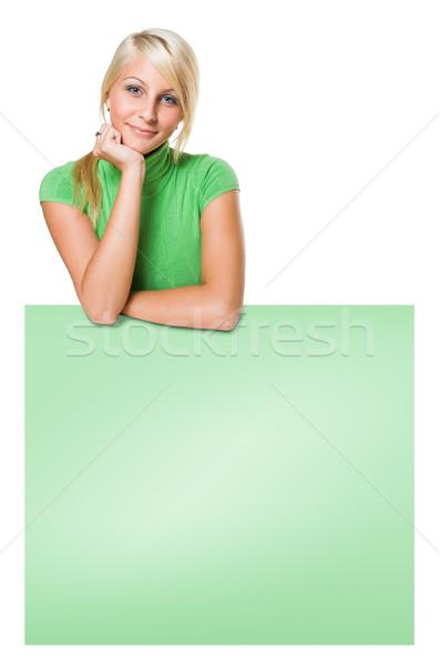 Gülen uygun genç sarışın kız bo Stok fotoğraf © lithian