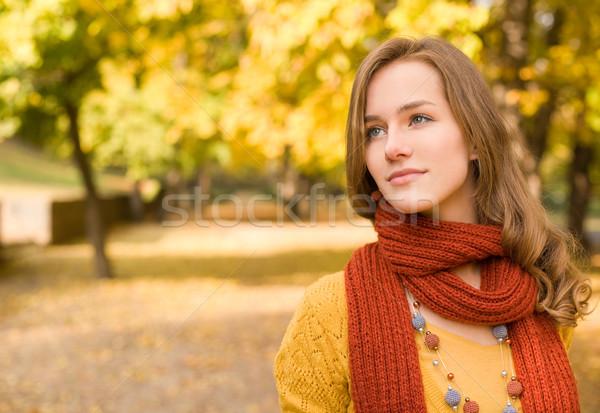 Fall fashion girl pondering. Stock photo © lithian