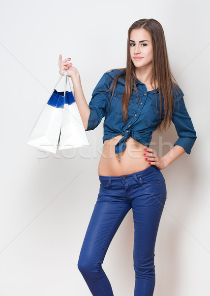 Shopping tempo ritratto snello giovani bellezza Foto d'archivio © lithian