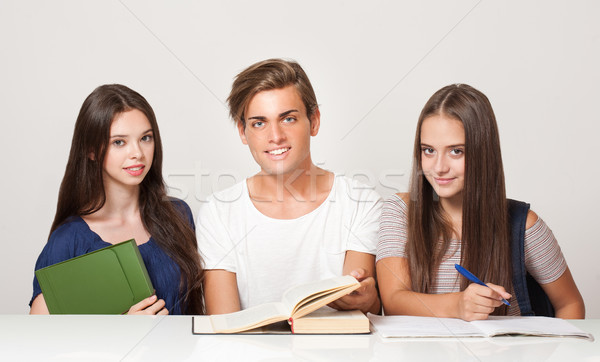 Stock photo: Group of cheerful students.