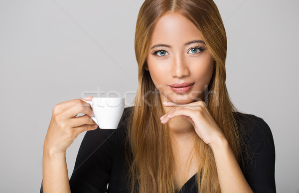 Asian beauty having coffee. Stock photo © lithian