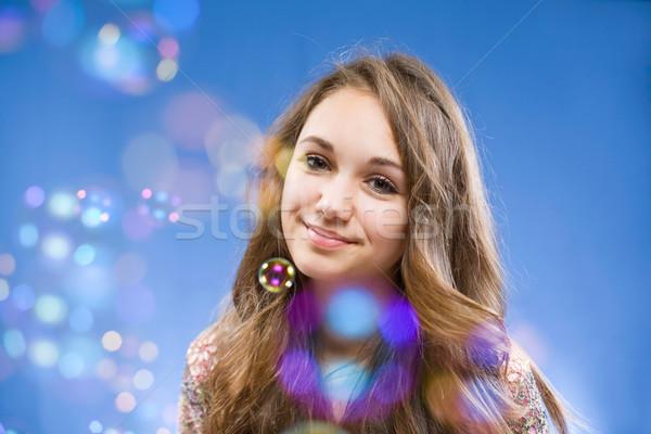 Buborék élet portré gyönyörű mosolyog fiatal Stock fotó © lithian