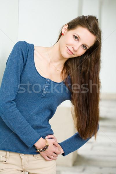 Uzun saçlı doğal esmer güzellik portre doğal olarak Stok fotoğraf © lithian